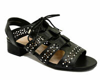 WOMENS EX-EVANS BLACK WIDE-FIT EEE OPEN-TOE STRAPPY SUMMER SANDALS SHOES 4-10