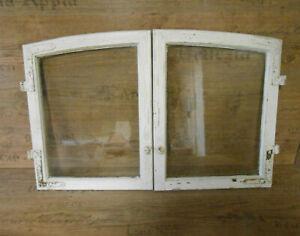 Uriges altes Fenster, 2 Flügel, shabby, weiß, Rundbogenfenster