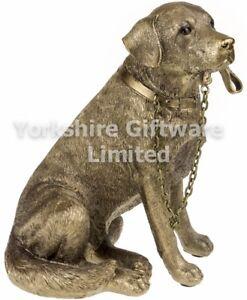 Sitting Labrador Retriever Dog Ornament Bronze Walkies The Leonardo Collection