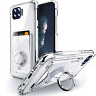 For Motorola Moto One 5G /UW G 5G Plus Case Card Holder & Ring Stand Clear Cover