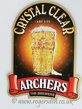 Archers Brewery Real Ale Pump Clip Crystal Clear