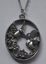 Chain Necklace #1163 Pewter HUMMINGBIRD OVAL (27mm x 20mm) BIRD PENDANT
