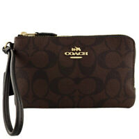 NWT COACH Double Corner Zip Wristlet Signature Wallet Brown Black Gold F87591
