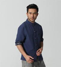 Blue white Chinese men's Linen Kung Fu shirt Tops Cheongsam Sz: S M L XL XXL
