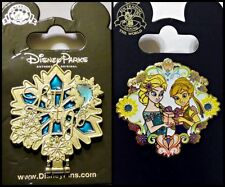 Disney Parks 2 Pin Lot FROZEN Mirror hinged Let it Go + Elsa & Anna w/gift