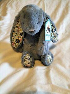 NEW Jellycat Small Blossom Dusky Blue Bunny Rabbit Soft Toy Comforter Baby BNWT