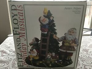 Fitz & Floyd Holiday Musical Christmas SANTA'S HELPERS Elves TOYLAND tune NIB