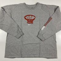 Nike Long Sleeve T Shirt Gray Basketball Hoop Graphic Mens Size XL (2000's )