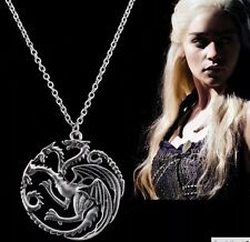 Game Of Thrones ASOIAF Targaryen Sigil Necklace Silver Daenerys US Seller