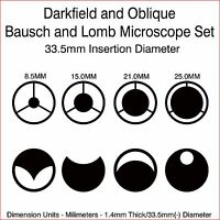 Bausch and Lomb 33.5mm Microscope Darkfield and Oblique Illumination Set