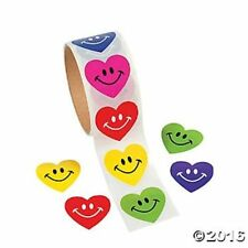 Heart Stickers Smile Face Kids Arts & Crafts Birthday Party Favors Roll 100