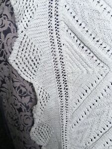 antique white cotton hand knitted double size bedspread