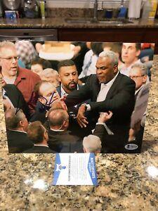 Charles Oakley Signed Knicks Owner James Dolan Fight 8x10 Photo Beckett COA RARE