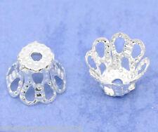 200 Versilbert Blumen Perlen Beads Ende Kappen 6x5mm