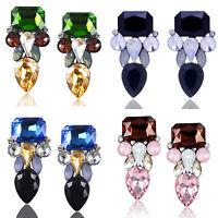 Luxurious Women Crystal Rhinestone Drop Ear Stud Resin Earrings Fashion Jewelry