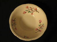 Homer Laughlin Pink Dogwood Serving Bowl 22 carat edge 8 and 3/4 inches across