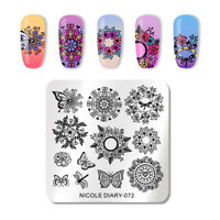 NICOLE DIARY Square Nail Stamping Plates Butterfly Nail Art Stamp Plate 072