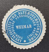 INVALIDITÄTS UND ALTERSVERSICHERUNG WEIMAR Siegelmarke Vignette (8135-3)