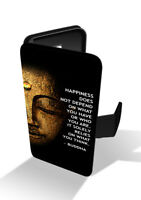 Buddha Happiness Quote Spiritual Wallet Leather Phone Case Cover