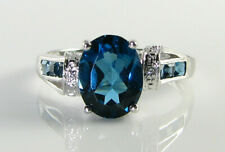 BIG 9k 9CT WHITE GOLD LONDON BLUE TOPAZ DIAMOND ART DECO INS RING FREE RESIZE