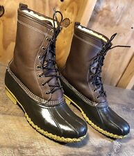 Men's BEAN BOOTS By L.L.BEAN Rubber/Leather Shearling Lined Boots Size 12 M