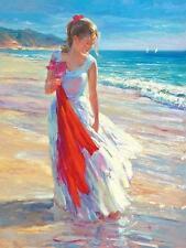 "Vladimir Volegov ""Coastal Breeze"" Stroll on Beach Embellished Giclee on Canvas"
