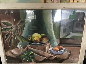 MCM STILL LIFE WATERCOLOR / STILL LIFE WITH VEGETABLE & FRUIT,SIGNED P. COSEY
