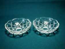ART NOUVEAU CRYSTAL GLASS BOBECHE PAIR for LAMP OR CANDEL