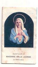 Madonna Delle Lacrime Siracusa con reliquia all'interno   con preghiera   (s129)