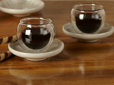 Set of 2 LA CAFETIERE BOLA Small Handless Insulated Glass CUPS & SAUCERS