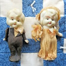 Bride & Groom Bisque Dolls in Crepe Clothes Kewpie Wedding Jointed Arms (2) Pcs