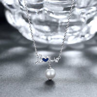 """925 Sterling Silver Simulated Sapphire Pendant Necklace 20"""""""