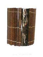 Exotische Wandlampe aus Kokosholz und Metall mit Geckomotiv 30cm