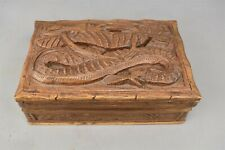 Carved Wood Dragon Locking Box Jewelry Hidden Lock India