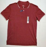 Men's George No Roll Collar Stretch Pique Polo Shirt Golf XS S M L Burgundy NWT