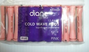 "Diane 5/16"" Cold Wave Rods Curlers Hair Perm #DCW6SH 12-pieces - Pink - Short"