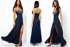 LIPSY VIP 12 Blue Maxi Evening Long Dress Embelished Wedding Prom Party Cruise