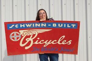 "Large Vintage Schwinn World's Finest Bicycles Gas Oil 48"" Metal Sign"