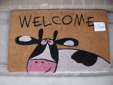 Welcome Cow Thick and Large 100% Natural Coir Door Mat
