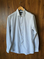"NEXT FORMAL SHIRT Grey & White Striped Regular Fit 16"" / 41cm Collar - NEW"