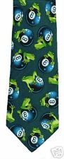 8 BALL FROGS POOL NOVELTY TIE NEW 100% SILK