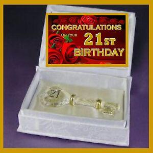 21ST  BIRTHDAY CONGRATULATIONS GLASS KEY IN SATIN BOOK  GIFT TWENTY ONE CARD