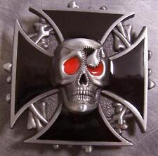 Pewter Belt Buckle Biker Maltese Cross and Skull NEW