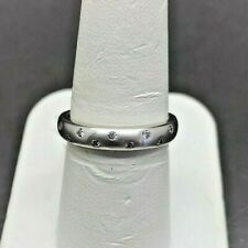 10k White Gold Round Diamond Wedding Band 0.11 ctw Size 7