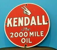VINTAGE KENDALL MOTOR OIL PORCELAIN GAS MOTOR OIL SERVICE STATION PEACE SIGN