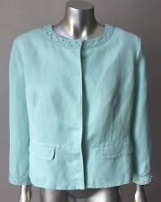 Linen Silk Peplum Beaded Embellished Pale Blue Short Cropped Jacket Coat Size 14