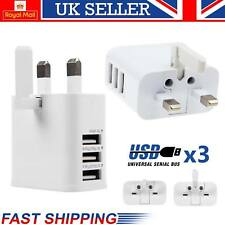 3 Ports USB Wall Charger Mains Power UK Plug Adapter For iPad iPhone Samsung UK