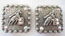 """Western Concho Pair Square Silver Barrel Racer Swarovski Crystals Pink 1"""" New"""