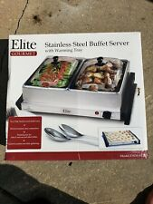Elite Gourmet Buffet Server New In Box W/ 2 ~ 2.5 Stainless Steel Warmers.