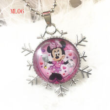 Disney mickey mouse Cabochon round glass Pendant silver Chain necklace QL06 .#